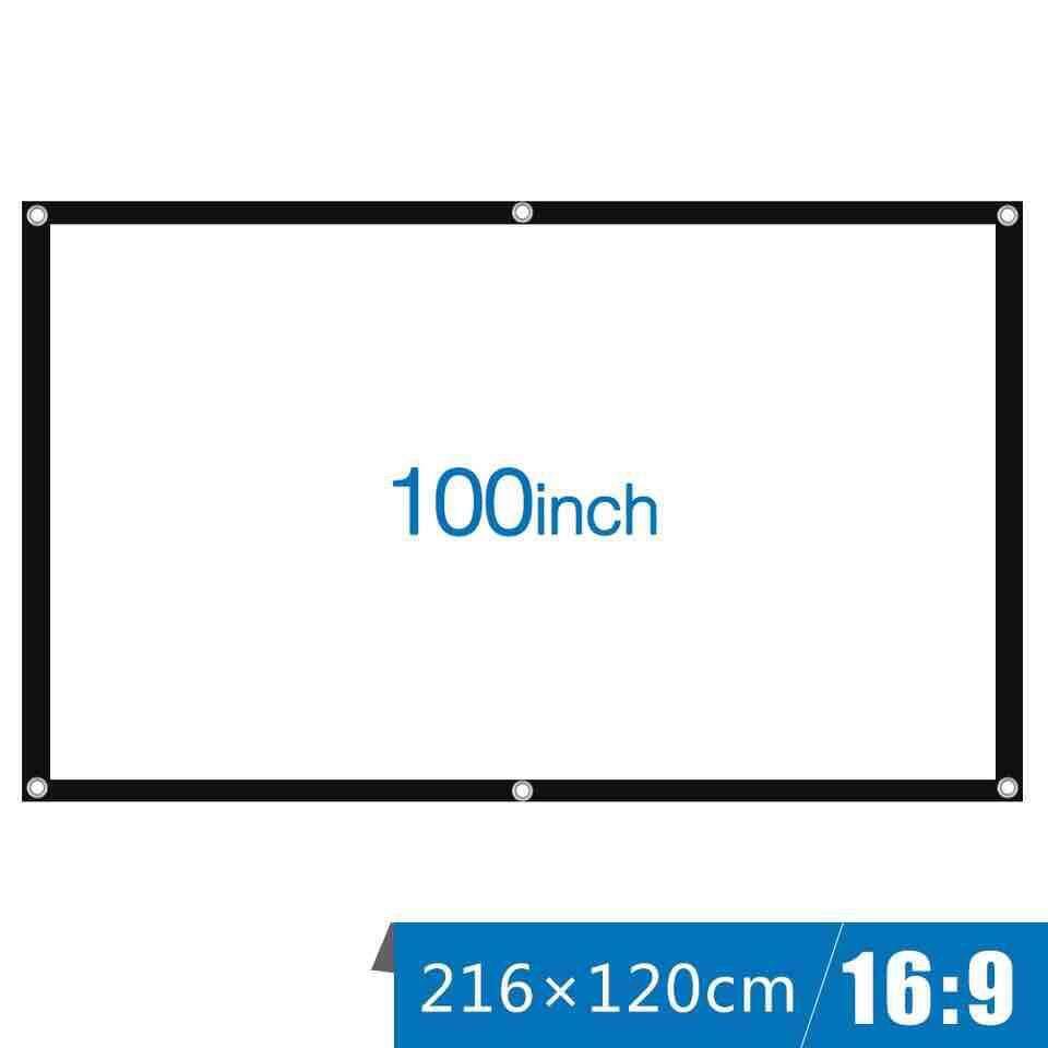 100 นิ้วพับโปรเจคเตอร์แบบพกพาสีขาวผ้าวัสดุ Led Projector โฮมเธียเตอร์โรงภาพยนตร์กลางแจ้งสีขาวผ้าม่าน.