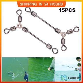 15 ชิ้นทนทาน Y - Shape 3 WAY Rolling Swivels เหยื่อตกปลาตัวเชื่อมต่อรอกอุปกรณ์เสริม (12 #) - INTL