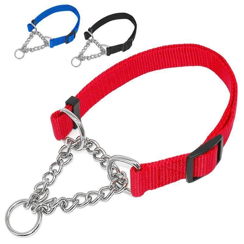 Ancol Setengah Check Choke Rantai Nilon Anjing Kerah P-Rantai Cincin Kerah kerah Satu Anjing Rantai Di Tarikan Tiga Anjing Tali Latihan Besar Leher R4G3