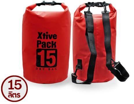 กระเป๋ากันน้ำ กันฝุ่น พับเก็บได้ พร้อมสายคล้อง หนาพิเศษขนาด 15 ลิตร สีแดง By Pinto-Shop.