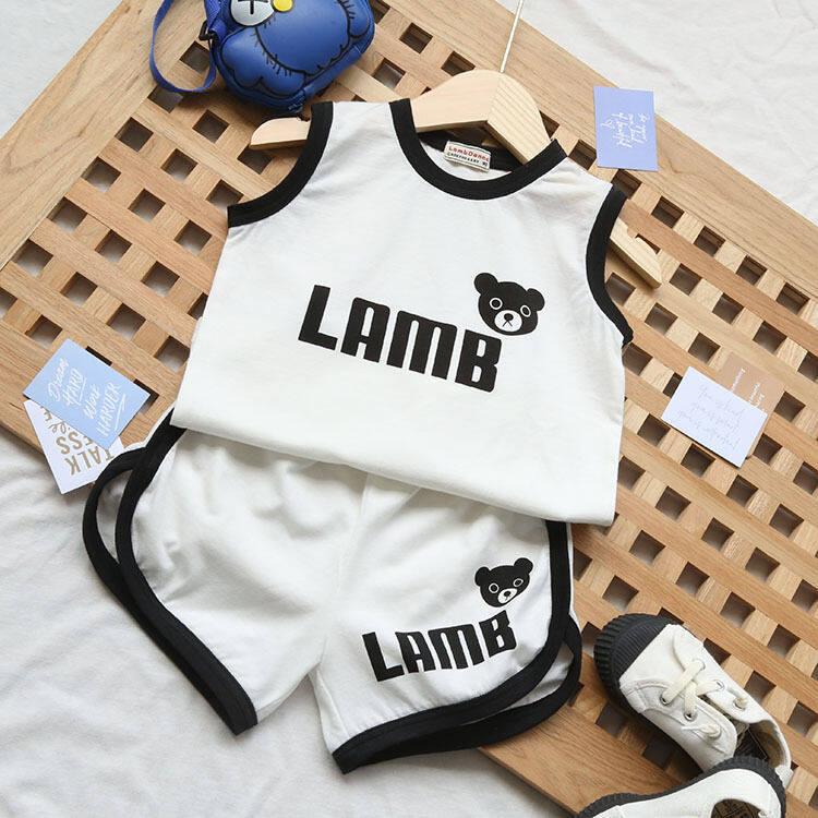 ชุดเสื้อกั๊กเด็กฤดูร้อนสำหรับเด็ก เด็กชายและเด็กสไตล์ตะวันตกสองชิ้นเด็กหล่อแขนกุดเสื้อผ้าบางๆ.