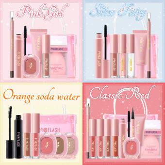 PINKFLASH ชุดแต่งหน้าทาปาก Christmas Sets Makeup Beauty Set The Hottest makeup Set PinkGirl Set & Nude Color Set & Christmas Snow Fairy Set (buy 1 gift 1 makeup bag)ลิปเซต แป้งคุชชั่น ที่ปัดคิ้ว