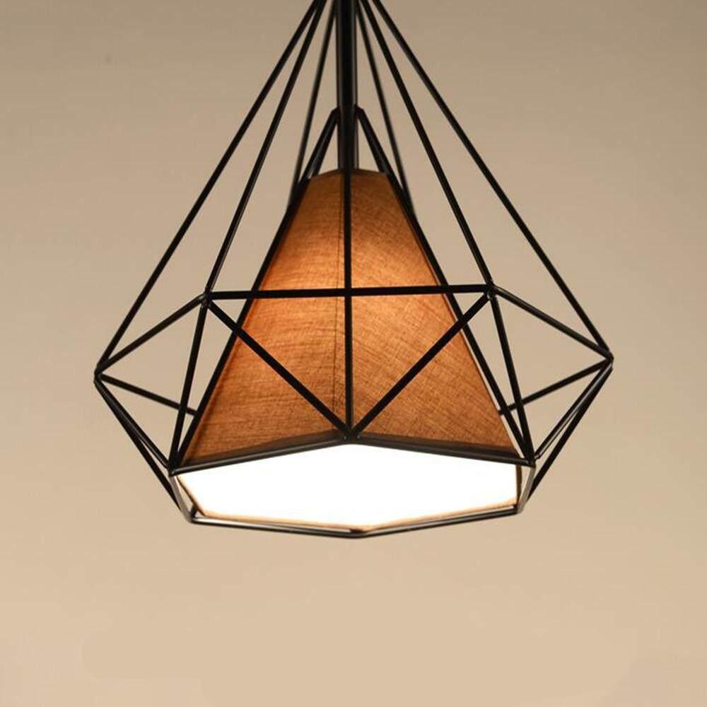 YANYI Iron Art Diamond Shape Ceiling Lamp for Loft Restaurant Bar Lighting 250mm E27