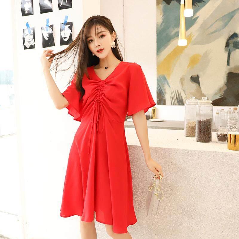 Ukuran Besar Baju Wanita 19 Model Baru Mm Merah Pakaian Musim Panas Longgar Terlihat Langsing Baju Ketat Wanita Awet Muda Retro Minoritas Setengah