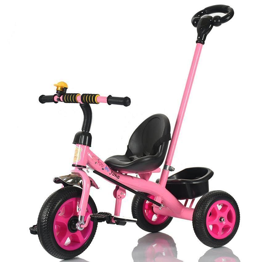 walking assistant car รถจักรยาน รถเข็นสามล้อ มีด้ามเข็น - Pink