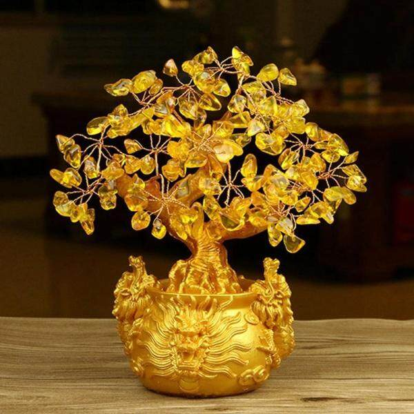 Chinese Golden Crystal Lucky Money Fortune Tree LUCKY Fortune Wealth Home Office Decoration Ornament Best Gifts