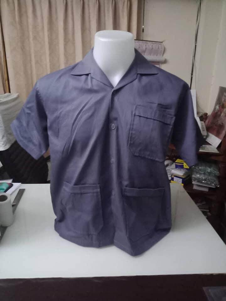 เสื้อช็อปช่างเทาเข้ม เสื้อช็อปสำเร็จรูป ราคาถูก !!! มีเก็บปลายทาง พร้อมส่ง.