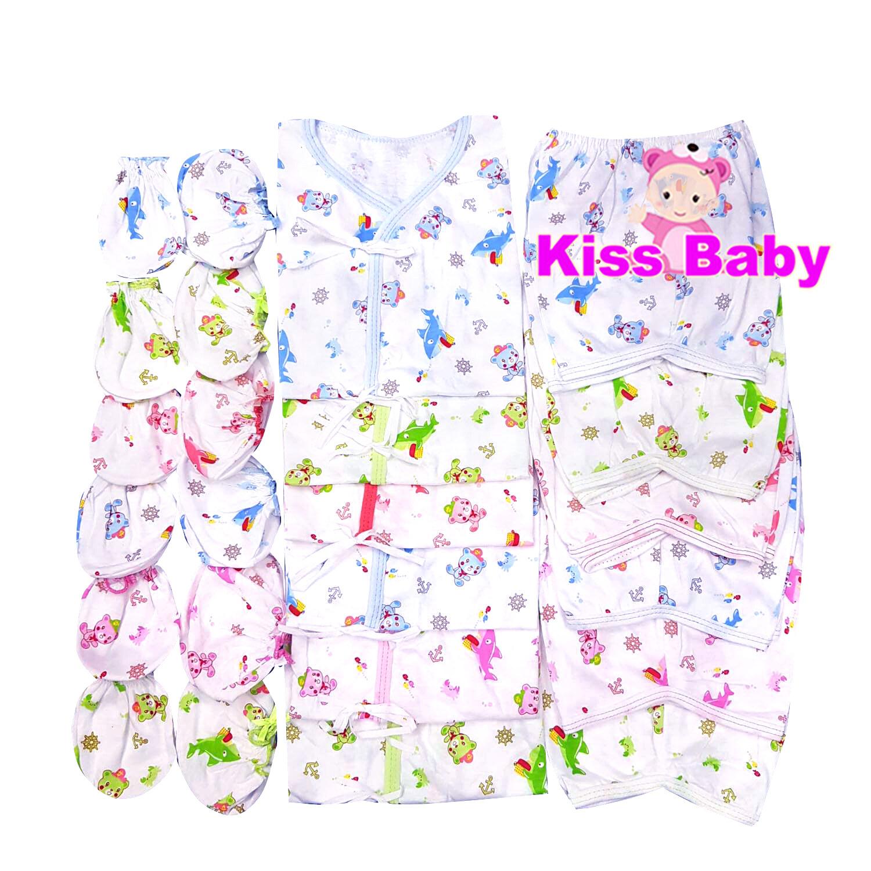 KISSBABY ชุดเด็กแรกเกิด เสื้อผ้าเด็กแรกเกิด ถุงมือ ถุงเท้า แพ้ค 6 เซ็ต **ใหม่ลายหมี**