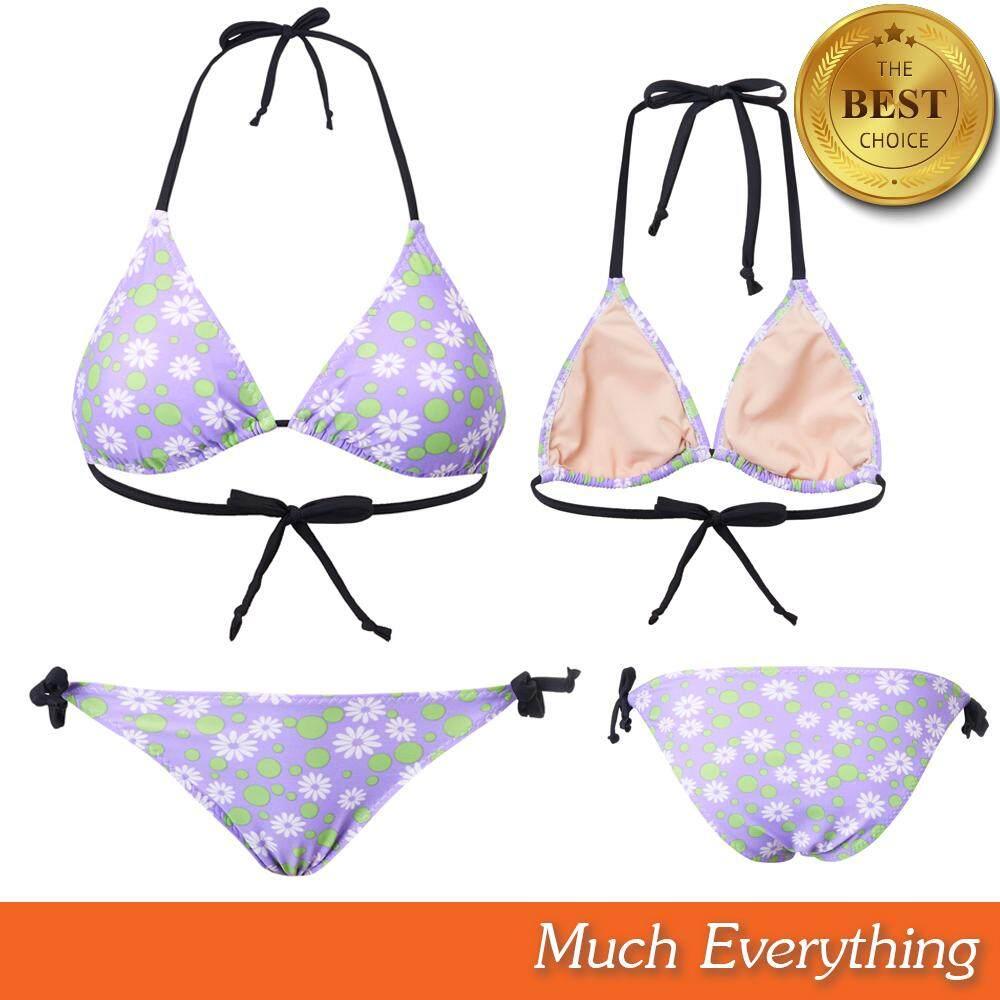 ชุดบิกินี่ Bikini ชุดทูพีช ชุดว่ายน้ำ ผู้หญิง รุ่น Floral สีม่วง ผ้ากัน Uv 100% ผลิตจากเนื้อผ้าคุณภาพดี By Much Everything.