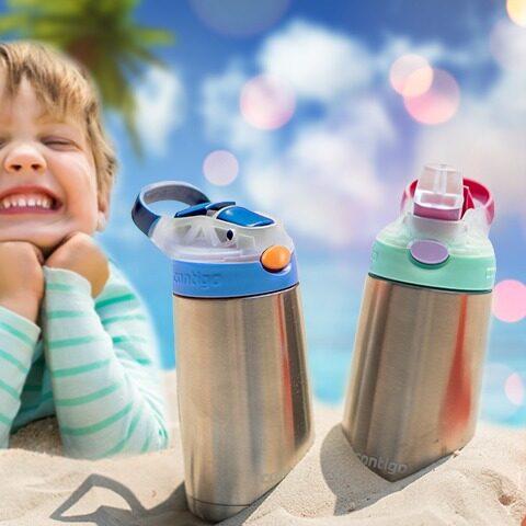 รีวิว Contigo Kids Gizmo Flip Chill กระติกน้ำเด็ก Stainless Steel เก็บความเย็นพร้อมหลอดดูด ขนาด 414 ml.