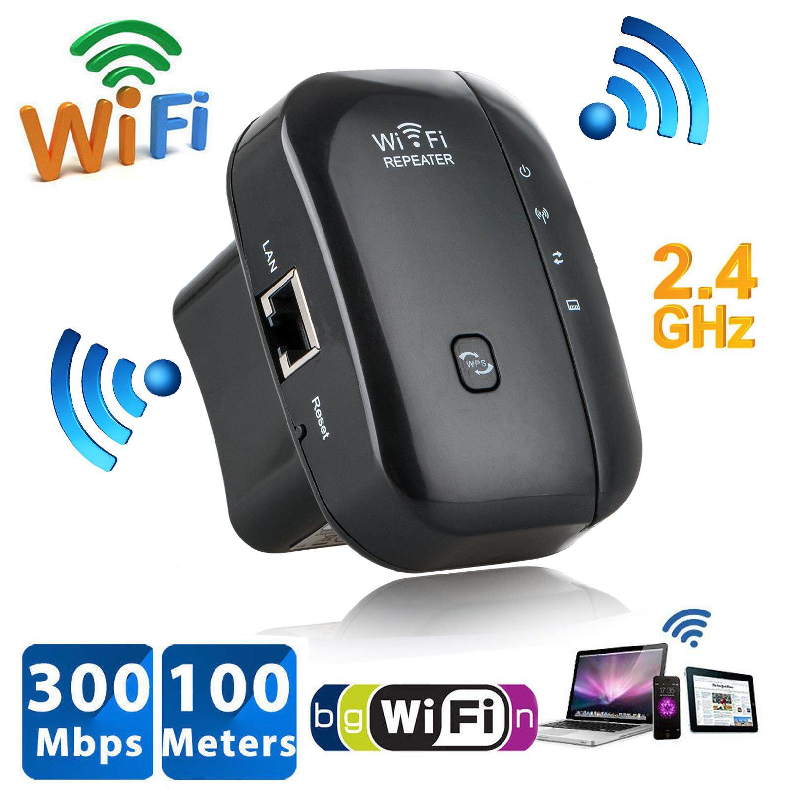 ตัวรับสัญญาณ Wifi ตัวดูดเพิ่มความแรงสัญญาณไวเลส Wifi Repeater ตัวกระจายอินเตอร์เน็ต 2.4ghz 300mbps (สีดำ).