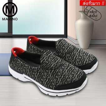 Marino รองเท้า รองเท้าผ้าใบ รองเท้าหุ้มส้น ผ้าใบ สลิปออน รองเท้าผ้าใบสีชมพูสำหรับผู้หญิง รองเท้าพื้นเมมโมรี่โฟม No.A031