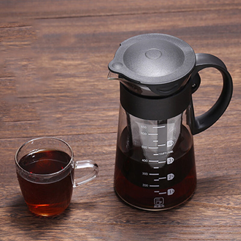 Coffee Maker Airtight Seal Tea Pot 650ML Cold Brew Iced Kettle W/Filter&Handle Detachable Heat-Resistant Glass Reusable Filte