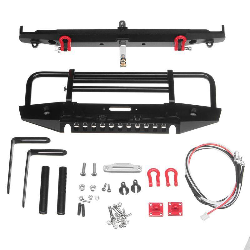1/10 RC Rock Crawler Metal Front Bumper with Led Light for Axial SCX10 Trx-4 TRX4 RC Parts Accessories for RC Crawler