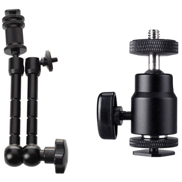 1x 11 Inch Friction Articulating Magic Arm for Camera DSLR & 2Pcs 1/4 Inch Hot Shoe Mount with Shoe Adapter Screw
