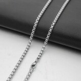 ซื้อ 4Mm Silver Tone Men S Stainless Steel Double Linked Wheat Curb Chain Necklace 60Cm Long Intl ถูก จีน