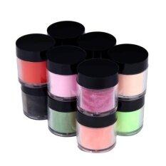ราคา 12 Colors Acrylic Nail Art Tips Uv Gel Powder Dust Design Decoration 3D Manicure Intl ใหม่ล่าสุด