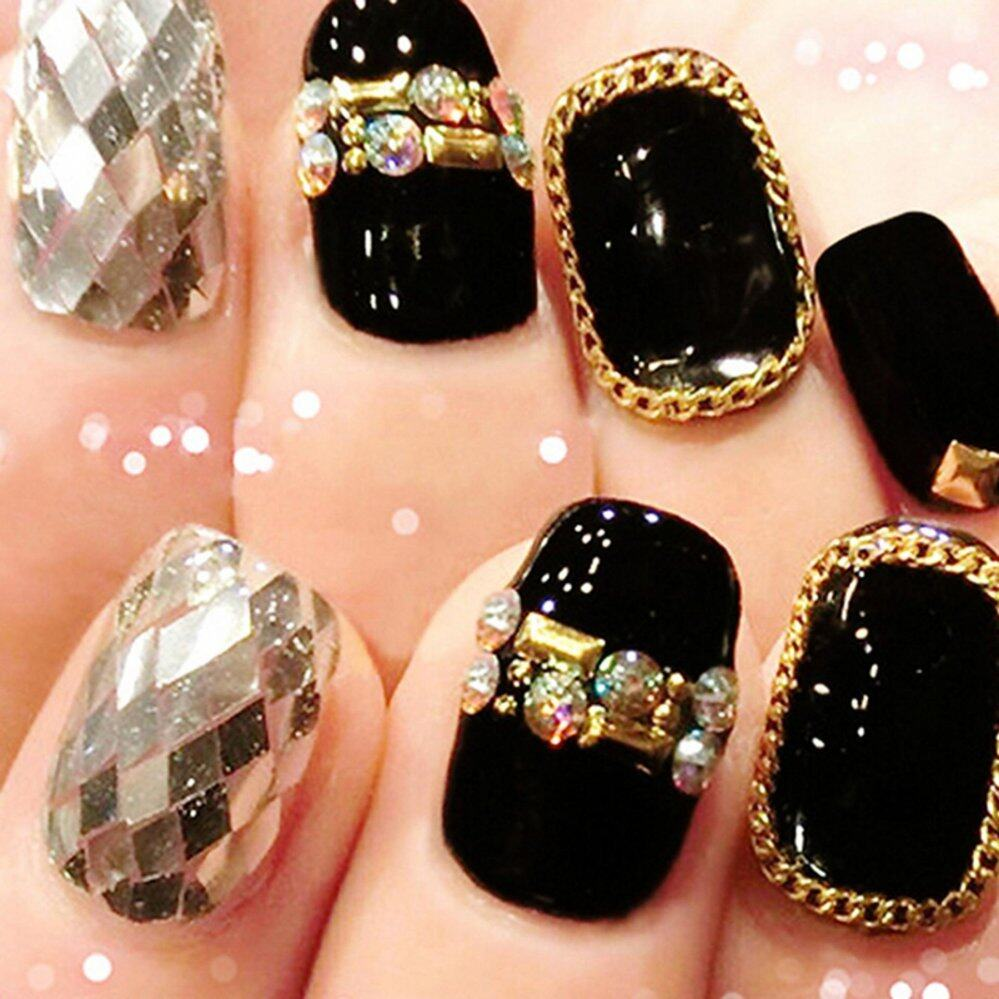 1m Nail Art Tips 3D Stickers Metal Glitter Striping Chain Decorations Gold - intl