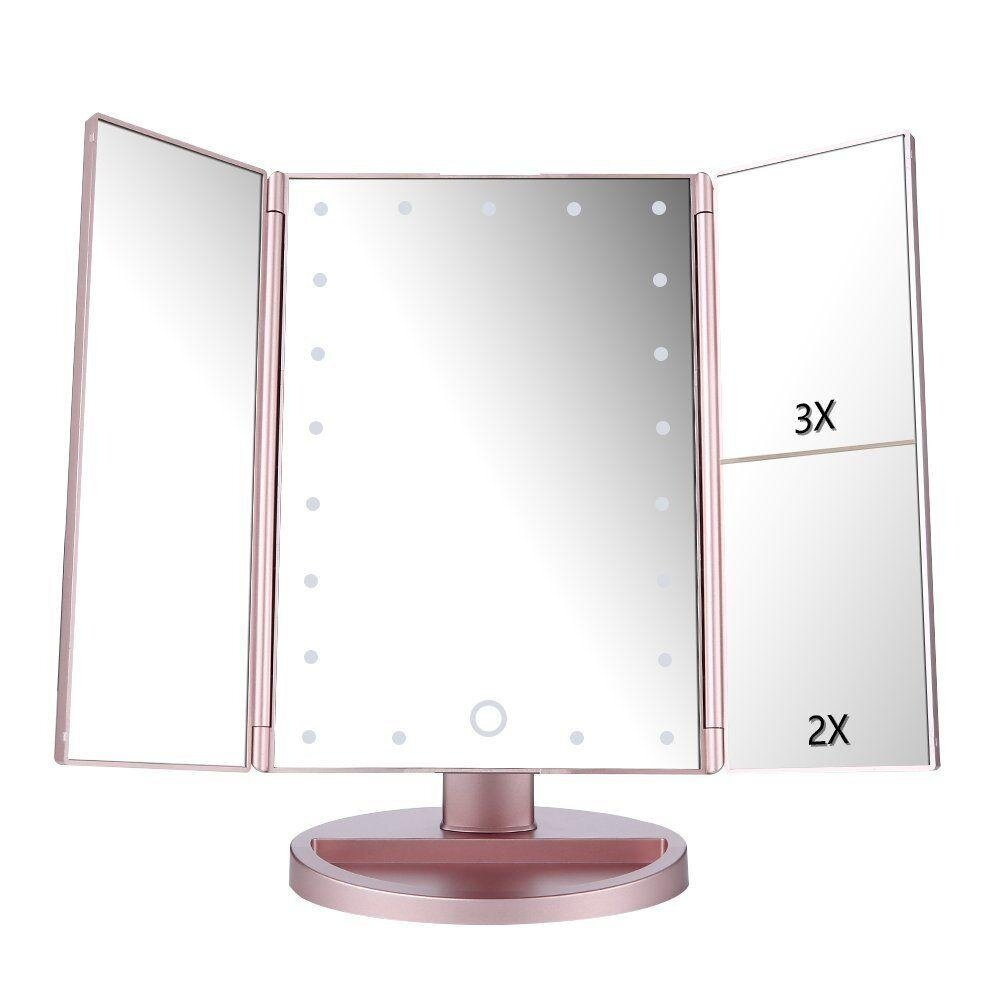 22 LED Light Fold Magnifying Touch Screen Makeup Cosmetic Compact Vanity Mirror #White - intl