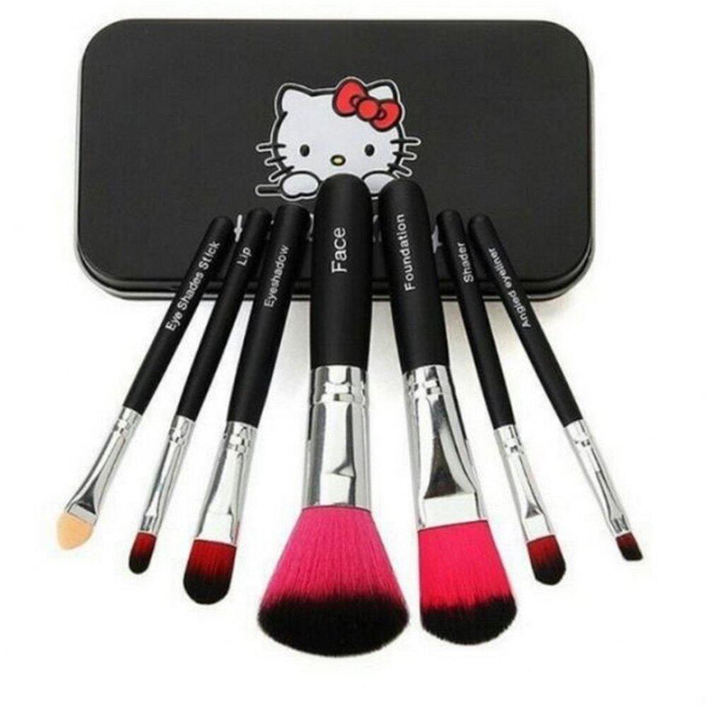 แปรงแต่งหน้า Hello Kitty Makeup Brush 7ชิ้น (Black)ดำ
