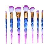 ทบทวน ที่สุด 7Pcs Diamond Gradual Blue Handle Makeup Brushes Set Beauty Brush Kit Intl