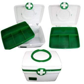 Abloom กล่องยา ปฐมพยาบาล 2 ชั้น 2-Layer First Aid Kit Box Medicine Storage (Size M) สีเขียว