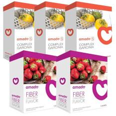 Amado S Garcinia อมาโด้ เอส อาหารเสริมควบคุมน้ำหนัก กล่องส้ม 10 แคปซูล X 3 กล่อง Fiber Detox ดีท๊อกซ์ กล่องม่วง รุ่นใหม่ 5 ซอง X 2 กล่อง เป็นต้นฉบับ
