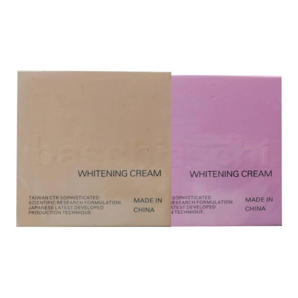 ครีมหน้าขาว-Baschi Whitening Day cream ครีมหน้าขาวใสบาชิ 15g (1 กระปุก) + Baschi Whitening Night cream ครีมบาชิสูตรกลางคืน 15g (1 กระปุก)