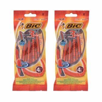 BIC บิค มีดโกนหนวด 3 กริ๊ป - 2 ห่อ/ห่อ 4 ด้าม (รวมทั้งหมด 8 ด้าม)
