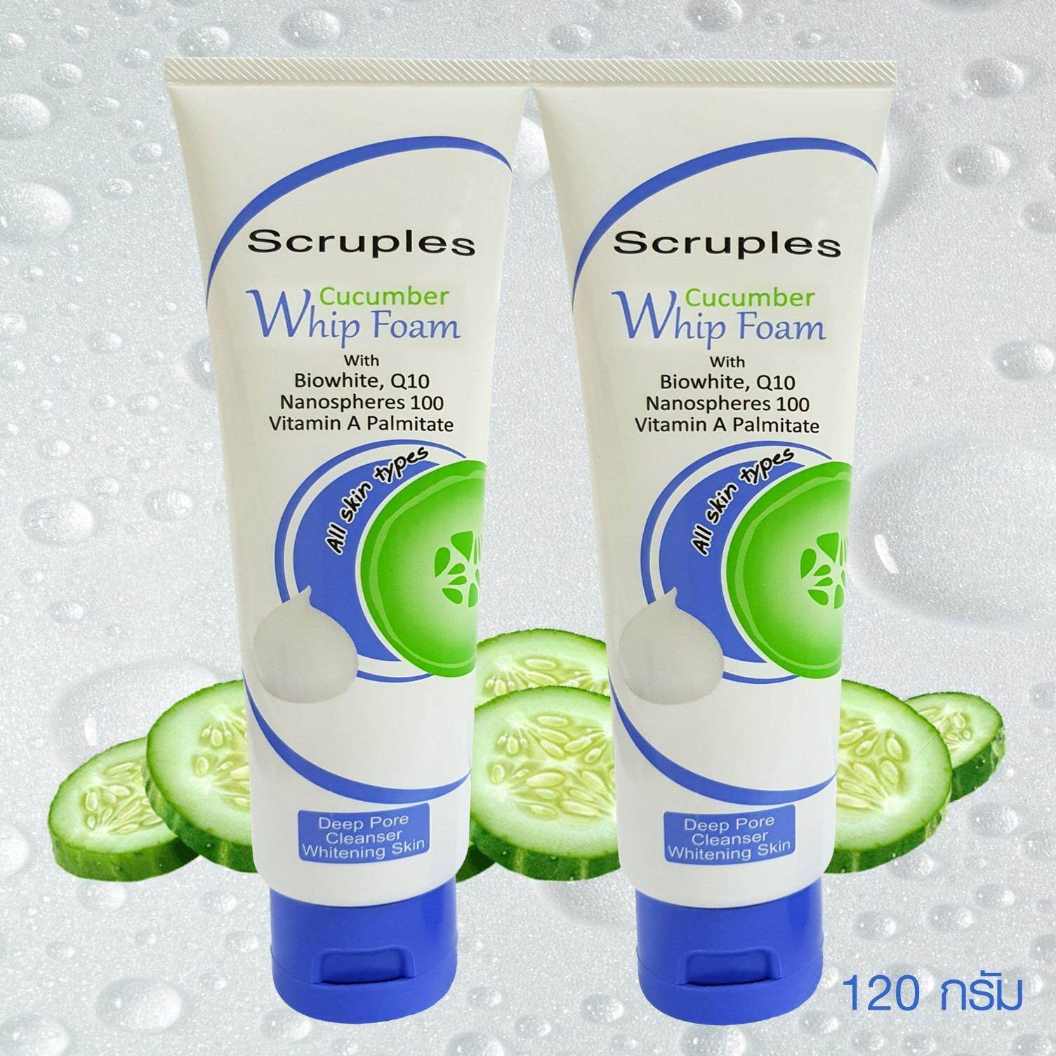 โฟมล้างหน้า สครูเพิลส์ สูตรไบโอไวท์ (Bio White) โคเอนไซม์ คิวเทน (Q10) หน้าขาวใสเด้ง ลดรอยสิว ลดสิวอุดตันและสิวเสี้ยนScruples Cucumber Whip Foam (SCB-WF917L) Pack 2 หลอด