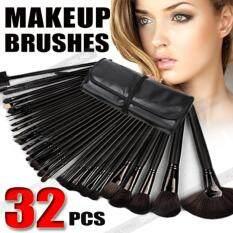 Black 32Pcs Cosmetic Make Up Makeup Brushes Brush Set Kit Leather Case เป็นต้นฉบับ