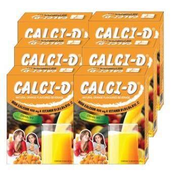 Calci-D (Orange Flavour) เเคลซี่-ดี เเคลเซียม 400 มก. เเละวิตามินบีรวม 20 กรัม (10ซองx6กล่อง)