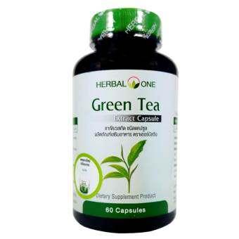 ชาเขียวสกัด อ้วยอัน Green Tea Extract Herbal One 60 Cap. X 1 Bottle-