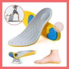 ขาย ซื้อ Cherish แผ่นรองเท้ากันกระแทก เมมโมรีโฟม แผ่นรองเพื่อสุขภาพเท้า Absorption Super Soft Insoles สีเทาเหลือง