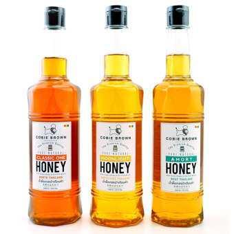 Cobie Brown น้ำผึ้ง ป่าธรรมชาติแท้ 100% เดือนห้า จากภาคต่างๆของประเทศไทย (1050 g. x 3 ขวด)-