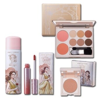 Cutepress Beauty and The Beast Set Palette #01 Intelligent Highlighter #02 Champagne Light WhiteningHydrating Rose Mist Matte Liquid Lip #01 Something There