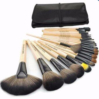 24Pcs Brush Wooden Set with Bag Makeup Cosmetic Tool