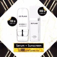ราคา แพคคู่สุดคุ้ม De Flair Ultimate Serum Sunscreen เดอ แฟลร์ อัลติเมต เซรั่ม แพคคู่มาพร้อมครีมกันแดด ลดเลือนริ้วรอย ป้องกันแสงแดด เผยผิวหน้าเนียนใส 1 ชุด เป็นต้นฉบับ