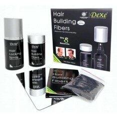 Dexe Hair Building Fiber Set ไฟเบอร์เพิ่มผม แก้ผมบาง Hair Building Fiber+locking Spray (สีน้ำตาลเข้ม)  .