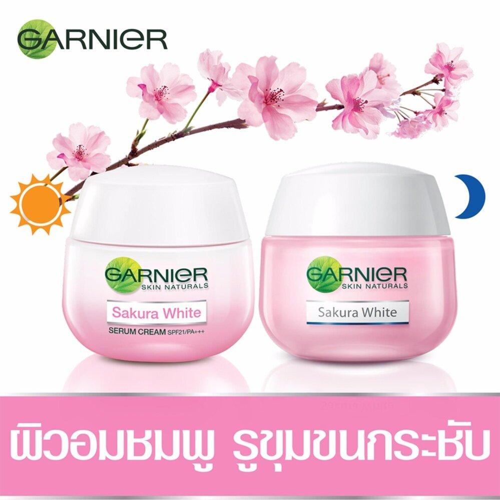 ใช้ได้ผลที่สุด BESTSELLING : GARNIER ชุดเซ็ตซากุระไวท์ครีม (เดย์ครีม 50 มล. + ไนท์ครีม 50 มล.) Set Garnier Sakura White (Day Cream 50ml + Night Cream 50ml) Bright ไม่ได้ผลไม่แนะนำ