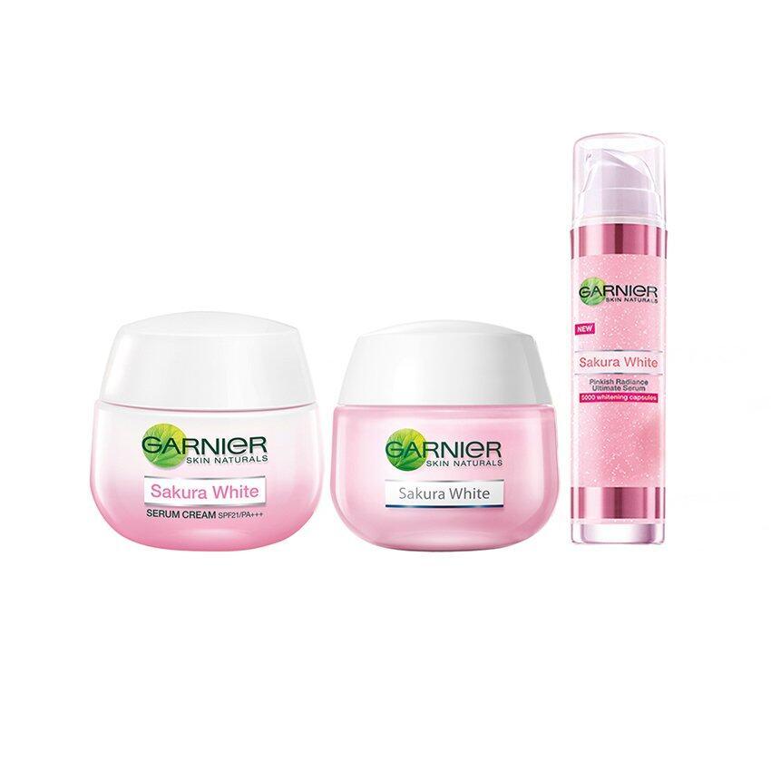 ใช้ดีจนต้องบอกต่อ BESTSELLING : GARNIER ชุดเซ็ตซากุระไวท์ (เดย์ครีม SPF 21 50 มล. + ไนท์ครีม 50 มล.+ เซรั่ม 30 มล.) Set Garnier Sakura White (Day Cream SPF 21 50ml + Night Cream 50ml + Serum 30 ml) Bright ครีมบำรุงหน้าที่ดีที่สุด