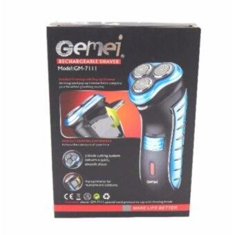 Gemei เครื่องโกนหนวดไฟฟ้า 3หัวดีไซด์หรู ฟังก์ชั่นครบๆ เครื่องโกนหนวด โกนหนวดไฟฟ้า [Blue]