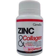 ขาย Giffarine Zinc And Collagen ซิงก์แอนด์คอลลาเจนบำรุงผมเล็บลดสิว ทานได้ทั้งชายหญิง กระปุกละ 30 เม็ด Giffarine