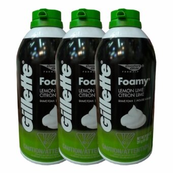 Gillette Foamy Lemon Lime Shave Foam 311g (3 ขวด)