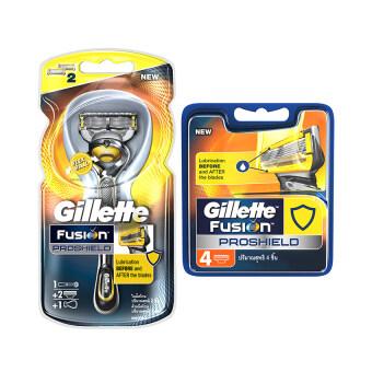 Gillette ชุดมีดโกนพร้อมใบมีด รุ่น Fusion Proshield Razor ฟรี! ใบมีด Gillette Proshield Blade 4 ชิ้น