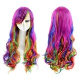 ซื้อ Harajuku Ombre Highlights Gradient Multicolor Natural Wavy Long Full Wigs Synthetic Halloween Anime Cosplay Party For Women Intl ถูก