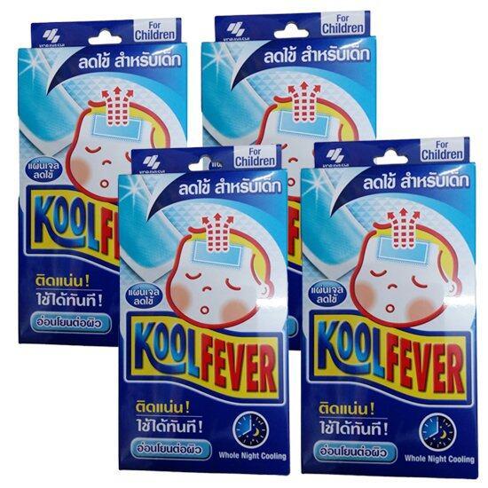 Kool Fever แผ่นเจลลดไข้ สำหรับเด็ก 6 แผ่น/กล่อง (4 กล่อง)