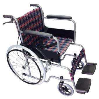 KT รถเข็นผู้ป่วยคนชรา  Wheelchair คนแก่ วีลแชร์ พับได้ KT907EBV (ลายสก๊อตม่วงแดง)