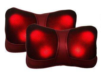 LantaAndaman เบาะนวดไฟฟ้า หมอนนวดคอ 2 ชิ้น (สีแดง)