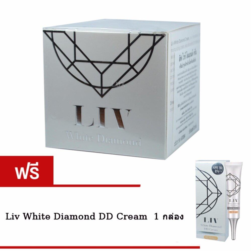 ลดราคา ถูกที่สุด Liv White Diamond Cream ลิฟ ไวท์ ไดมอนด์ ครีม ครีมดีที่วิกกี้แนะนำ บำรุงผิวหน้าเนื้อครีมเข้มข้น 30 ml. (1 กล่อง) แถมฟรี Liv White Diamond DD Cream ครีมรองพื้นผสมสารป้องกันแสงแดด SPF50 PA+++ จำนวน 1 กล่อง ครีมยอดนิยมจากเกาหลี